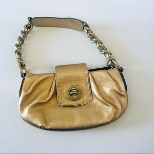 Coach Gold Fold Clasp Leather Shoulder Bag EUC